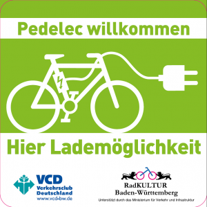 VCD-Aufkleber Pedelec willkommen. Hier Lademglichkeit.